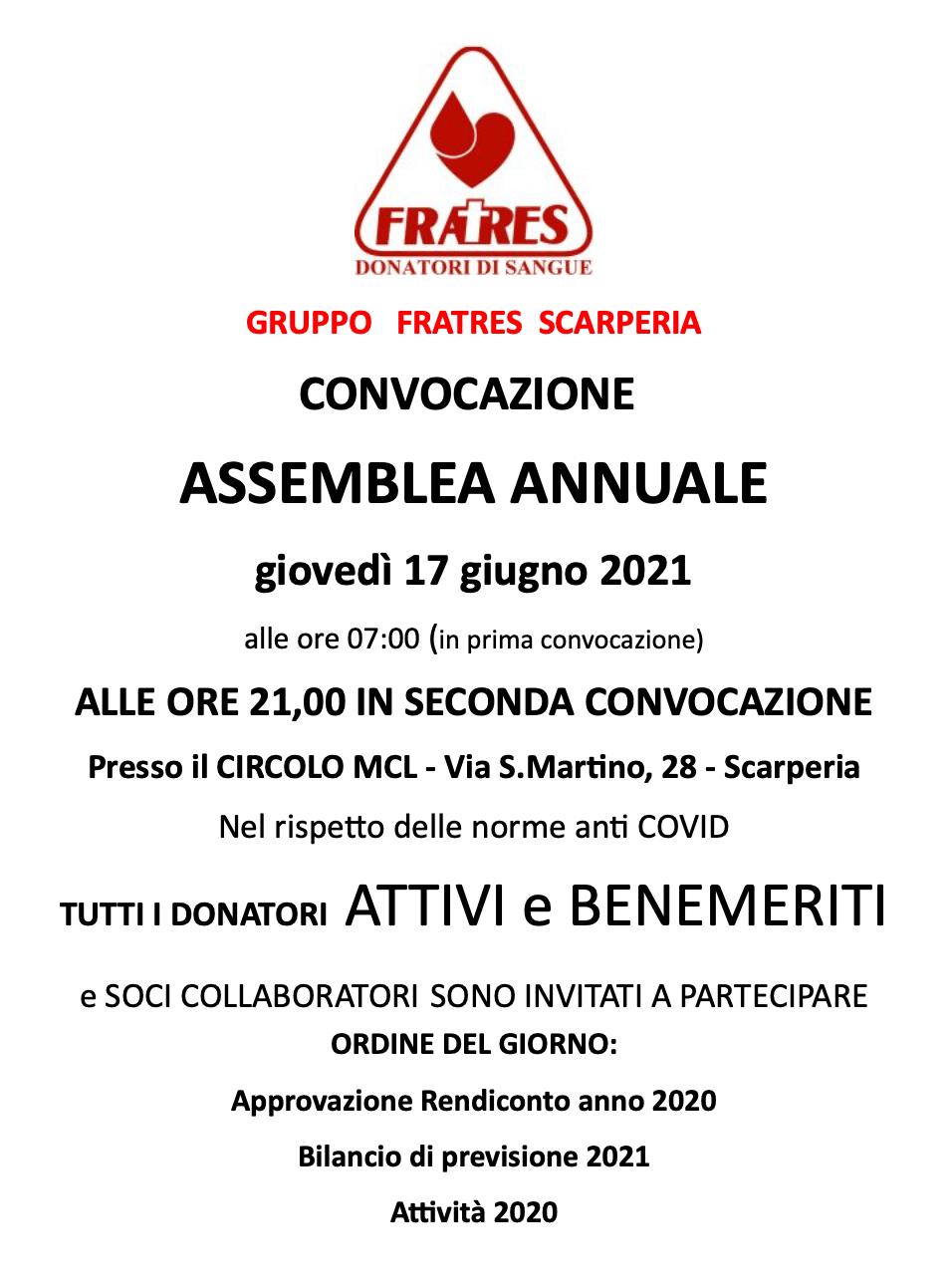 Fratres Assemblea annuale 2021